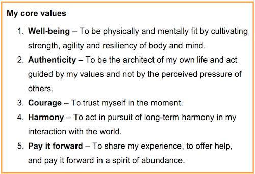 how to write your personal values